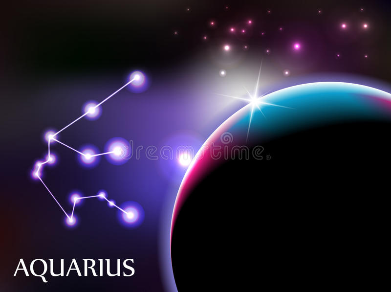Aquarius Astrological Sign and copy space. Aquarius - Space Scene with Astrological Sign and copy space vector illustration