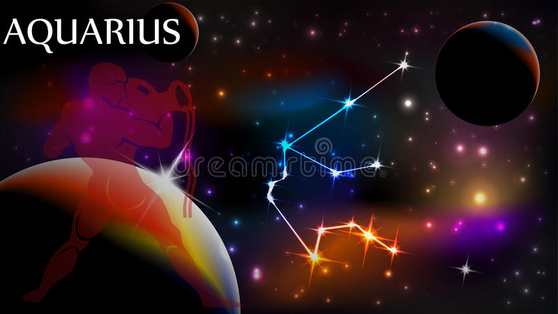 Aquarius Astrological Sign and copy space. Aquarius - Space Scene with Astrological Sign and copy space stock illustration