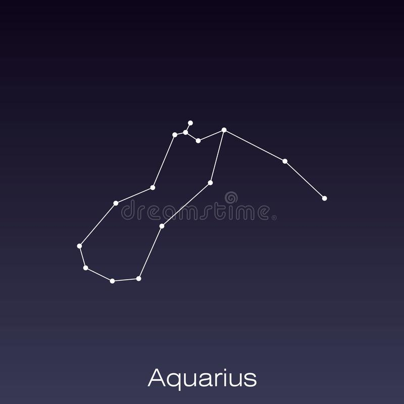 Constellation as it can be seen by the naked eye. Aquarius constellation as it can be seen by the naked eye stock illustration