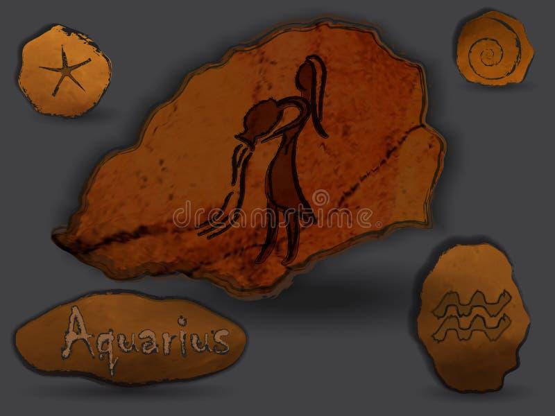 aquarius Costellazione zodiacale sotto forma di pittura della caverna royalty illustrazione gratis
