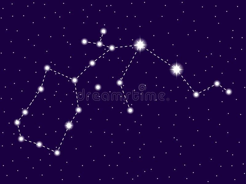 Aquarius gwiazdozbi?r nocne niebo gwia?dzisty grafika projekta znaka symboli/l?w dwana?cie r??norodny zodiak Przestrzeń przedmiot ilustracja wektor