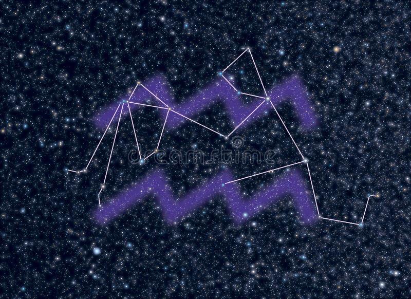 aquarius gwiazdozbioru zodiak royalty ilustracja
