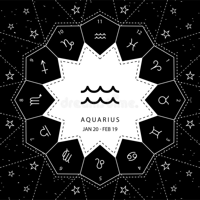 aquarius I segni dello zodiaco descrivono il vettore di stile fissato sul fondo del cielo della stella illustrazione di stock