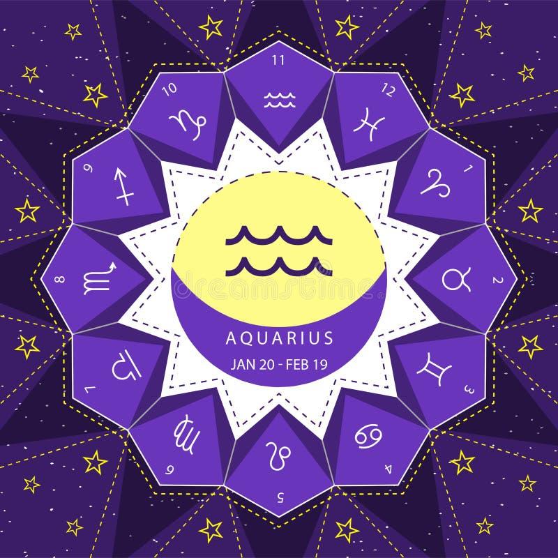 aquarius I segni dello zodiaco descrivono il vettore di stile fissato sul fondo del cielo della stella illustrazione vettoriale
