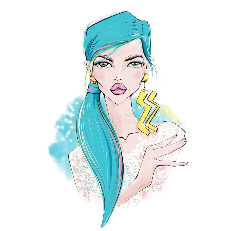 aquarius Illustrazioni delle ragazze dello zodiaco royalty illustrazione gratis