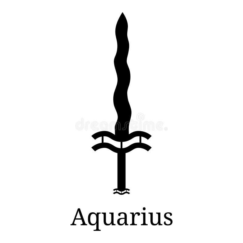 Aquarius kordzika ikona r r Wektorowy Astrologiczny, horoskopu znak Zodiaka symbol ilustracji