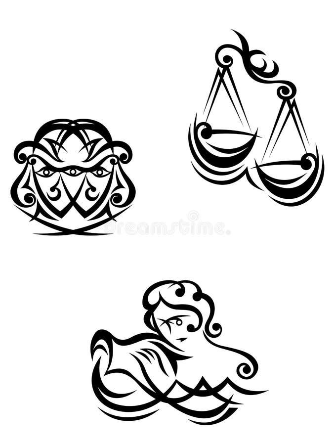 Aquarius, libra e gemini zodiacali illustrazione di stock