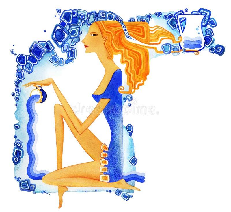 aquarius A mulher descal?a nova com cabelo vermelho em um vestido azul derrama a ?gua de um copo como um s?mbolo do Aqu?rio do si ilustração royalty free