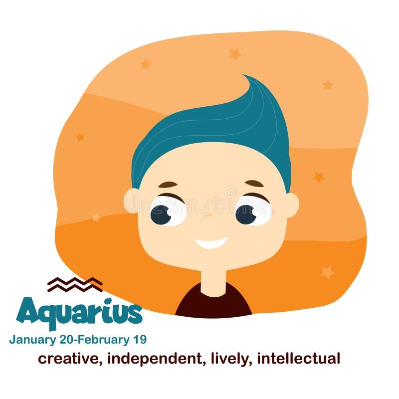 aquarius Scherza lo zodiaco Segno dell'oroscopo dei bambini Simboli astrologici con il fronte sveglio del bambino nello stile del royalty illustrazione gratis
