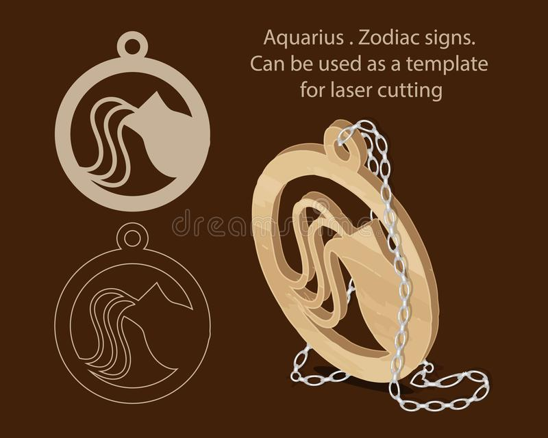 aquarius Segni dello zodiaco Può essere usato come modello per il taglio del laser illustrazione vettoriale