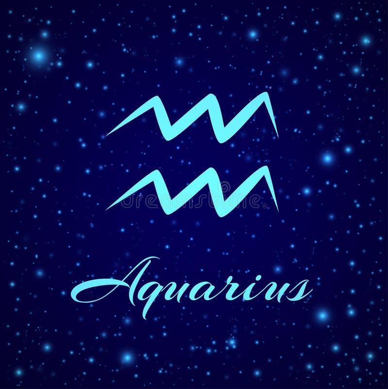 aquarius Segno dello zodiaco di vettore su un cielo notturno illustrazione vettoriale