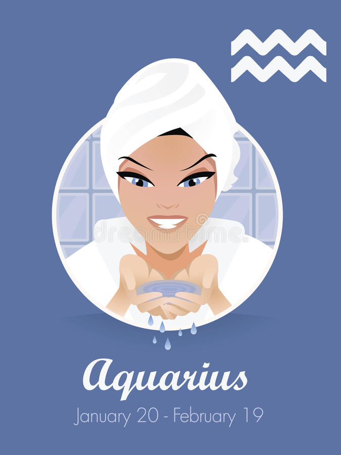 Aquarius sign vector royalty free illustration