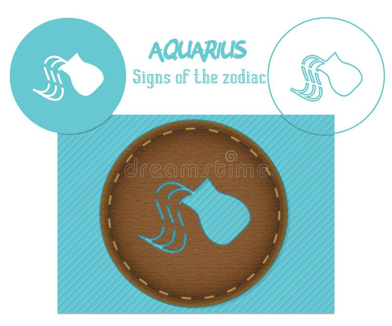 aquarius Sinais do zodíaco Corte do laser E foto de stock
