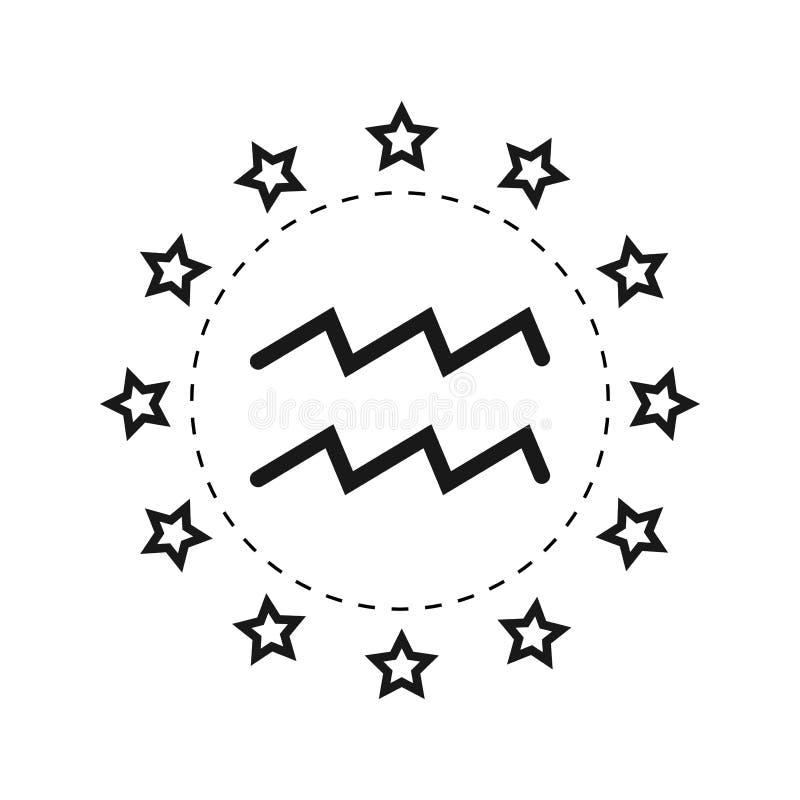 aquarius Sinal do zodíaco Horóscopo e previsões lisos do símbolo Objeto do vetor ilustração do vetor