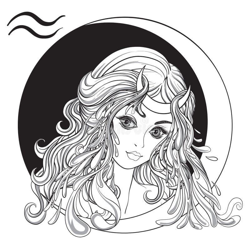 aquarius Una giovane bella ragazza sotto forma di uno dei segni illustrazione di stock