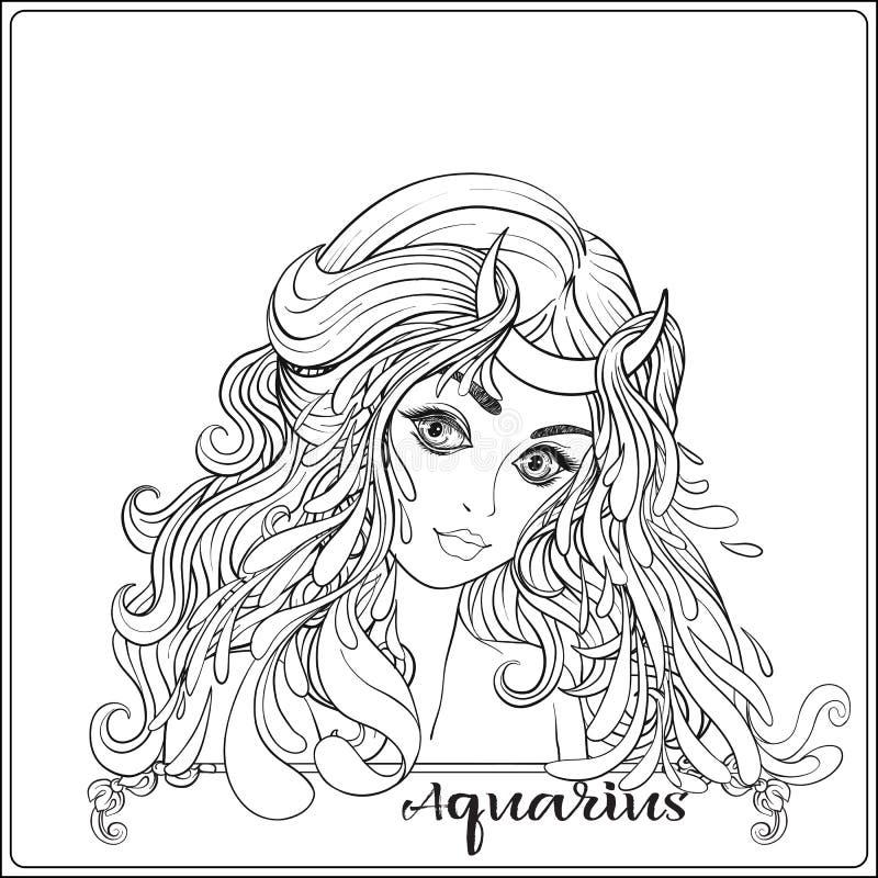 aquarius Una giovane bella ragazza sotto forma di uno dei segni royalty illustrazione gratis