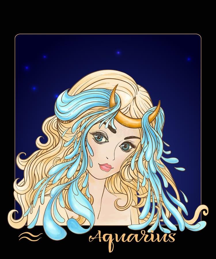 aquarius Una giovane bella ragazza sotto forma di uno dei segni illustrazione vettoriale