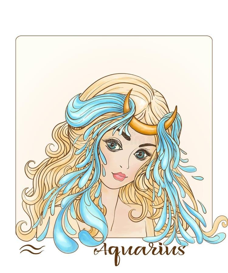aquarius Una giovane bella ragazza sotto forma di uno dei segni dello zodiaco illustrazione vettoriale