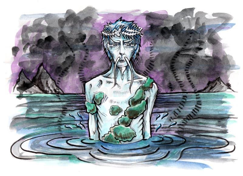 aquarius Vecchio spirito dell'acqua nel lago illustrazione vettoriale