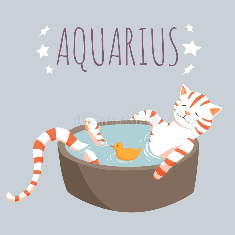 Aquarius zodiac character; cat cartoon character stylized as zodiac sign aquarius; vector illustration EPS10. Aquarius zodiac character on light blue background stock illustration
