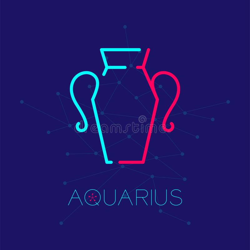 Aquarius Zodiac constellation logo icon outline stroke set dash line design illustration. Isolated on dark blue background with aquarius text and copy space vector illustration