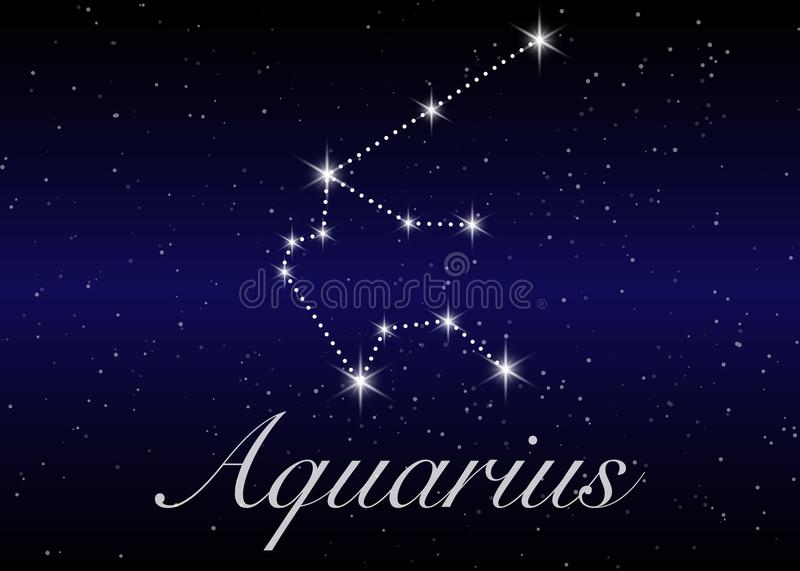 Aquarius zodiac constellations sign on beautiful starry sky with galaxy and space behind. Aquarium horoscope symbol constellation vector illustration