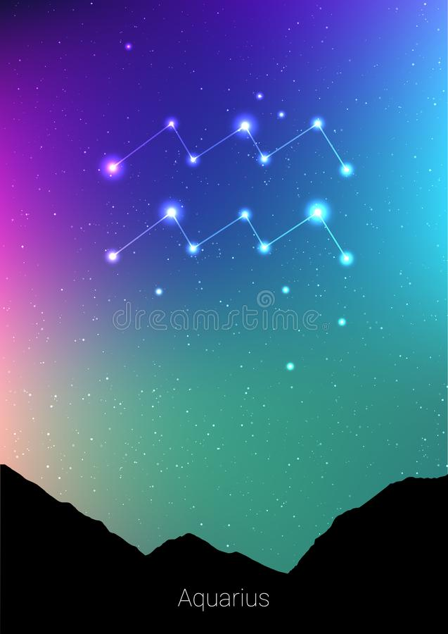 Aquarius zodiac constellations sign with forest landscape silhouette on beautiful starry sky with galaxy and space royalty free illustration
