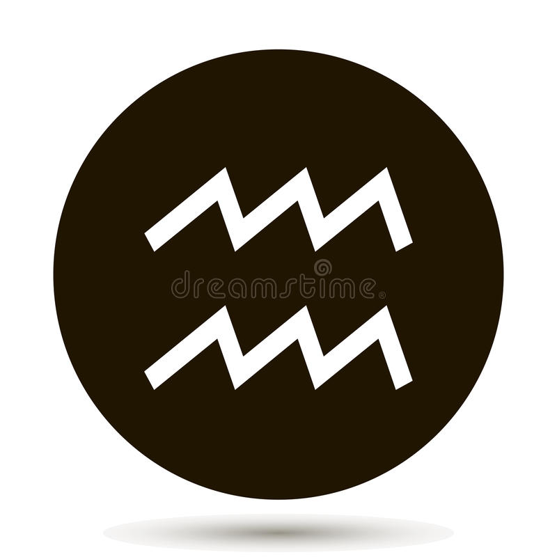 Aquarius zodiac sign. Astrological symbol icon in circle. On black background. royalty free illustration