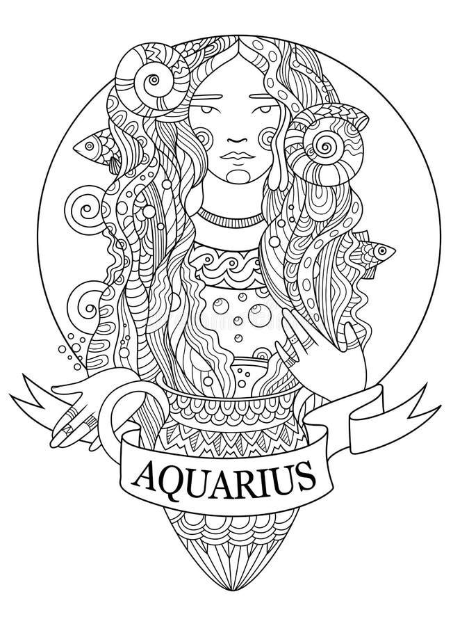 Aquarius Zodiac Sign Coloring Book