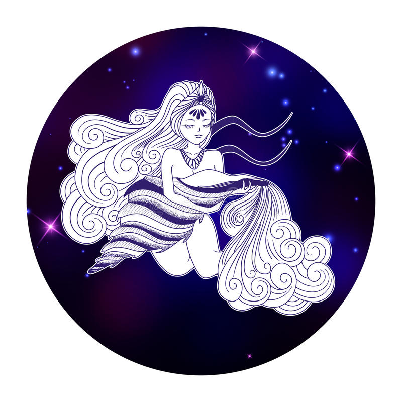 Aquarius Zodiac Sign Horoscope Symbol Vector Illustration Stock