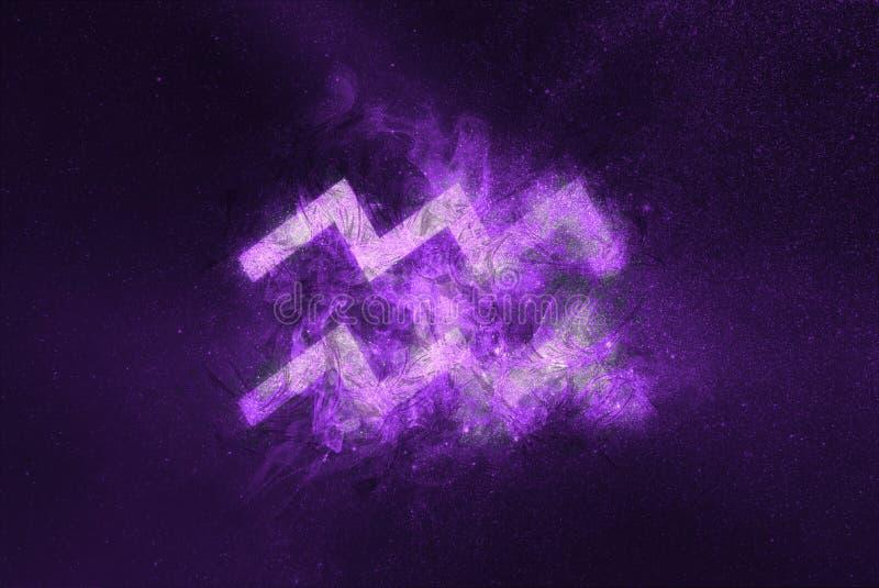 Aquarius Zodiac Sign. Night sky Abstract background vector illustration