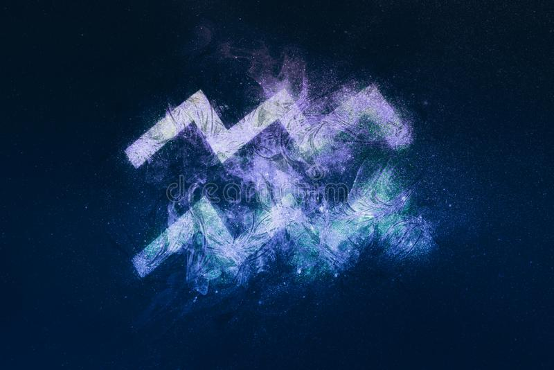 Aquarius Zodiac Sign. Night sky background vector illustration