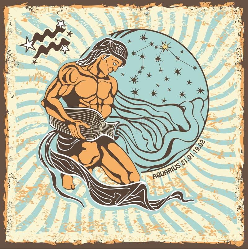 Free Aquarius Zodiac Sign.Vintage Horoscope Card Royalty Free Stock Photo - 40566095