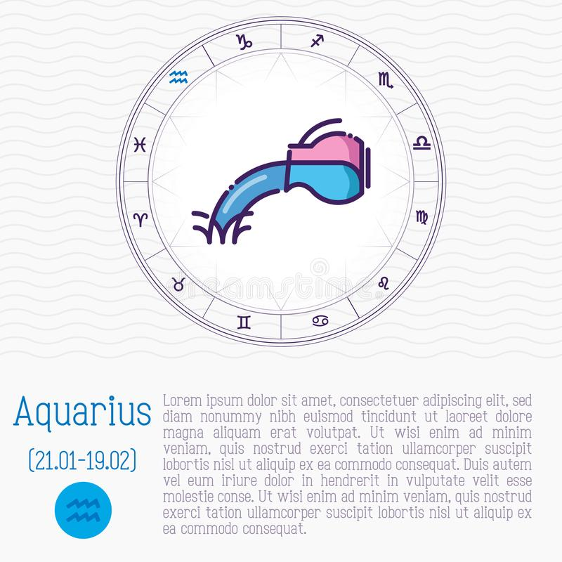 Aquarius in zodiac wheel, horoscope chart. With place for text. Thin line vector illustration stock illustration