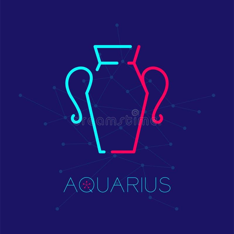 Aquarius zodiaka gwiazdozbioru loga ikony konturu uderzenia junakowania linii projekta ustalona ilustracja ilustracja wektor