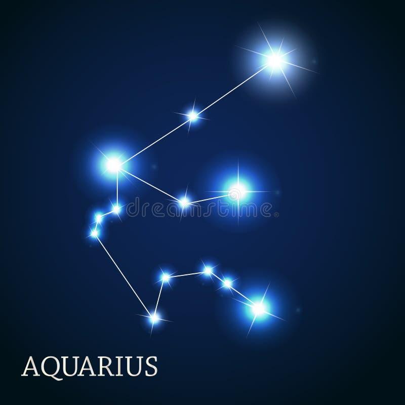 Aquarius zodiaka znak Piękne Jaskrawe gwiazdy royalty ilustracja