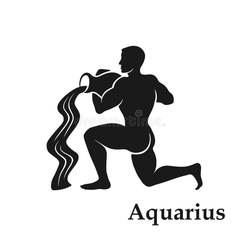 Aquarius zodiaka znaka symbol horoskop ikona odosobniony astrologiczny wizerunek royalty ilustracja