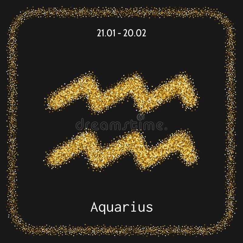 aquas Ikona zodiak podpisuje wewnątrz złocistą błyskotliwość Horoskop astrologia i znak ilustracji