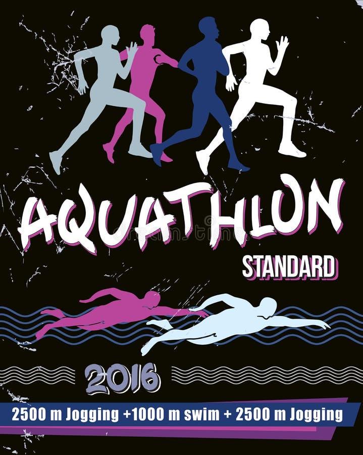 Aquathlon иллюстрации печати вектора - стандартное расстояние бесплатная иллюстрация