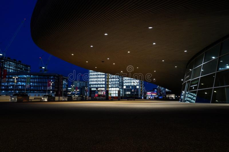 The Aquatics Centre at night,London stock image