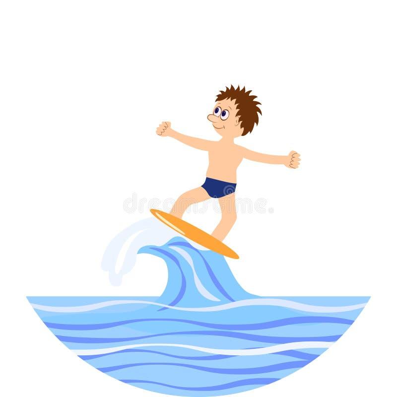 aquatics Surfer de l'eau Illustration de dessin animé illustration stock