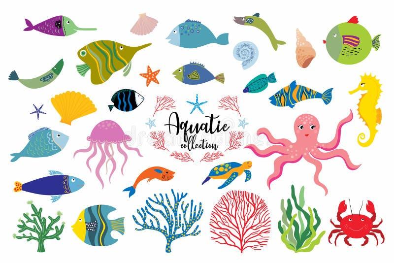 Aquatische elementeninzameling met verschillend die vissen en koraal op wit worden geïsoleerd royalty-vrije illustratie