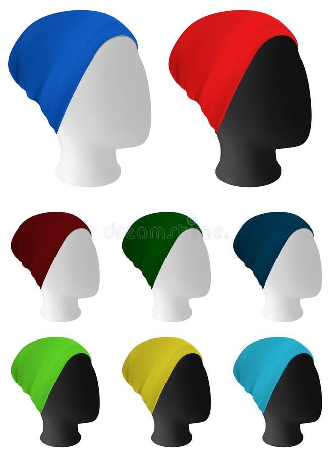 Aqueça o molde feito malha do chapéu ilustração royalty free