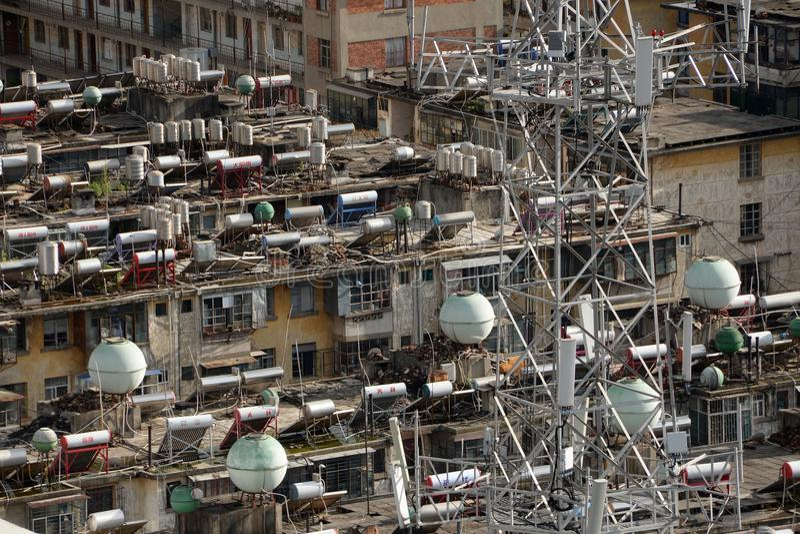 Aquecedor de água solar em China imagens de stock
