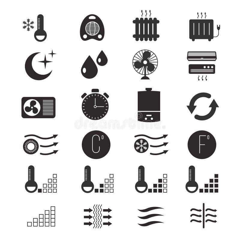 Aquecendo-se e refrigerando, ícones do vetor do sistema de condicionamento de ar ilustração royalty free