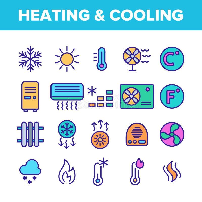 Aquecimento da cor e grupo linear dos ícones do vetor do sistema de refrigeração ilustração stock