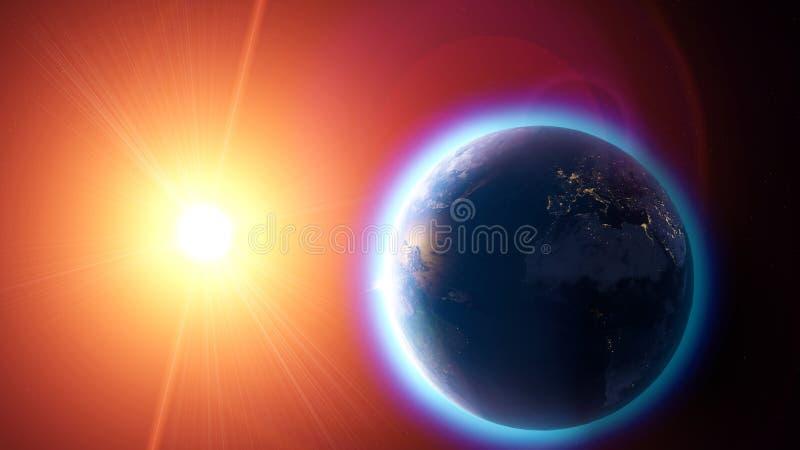 Aquecimento e alterações climáticas globais, vista satélite da terra e o sol Espaço e estrelas atmosfera, furo de ozônio ilustração royalty free