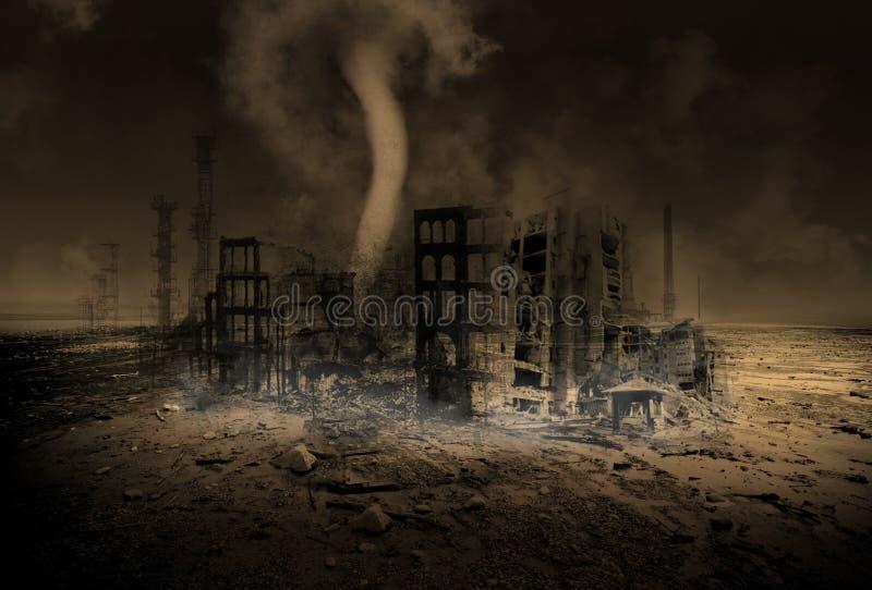 Aquecimento global, alterações climáticas, apocalipse ilustração royalty free