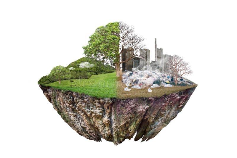 Aquecimento global e desperdício humano, conceito da poluição - sustentabilidade mostrando o efeito da terra árida com mudança da foto de stock