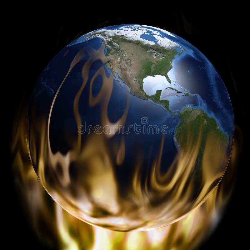 Aquecimento global - terra do planeta no fogo ilustração royalty free